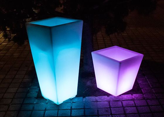 Tall Square LED Light Plant Pots Eco - Friendly PE Plastic Material For Golf Club
