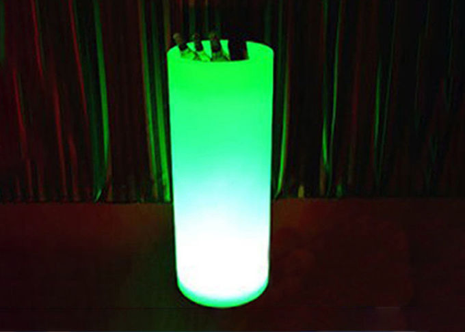 Round Colorful LED Light Up Champagne Bucket White PE Plastic Shell Material