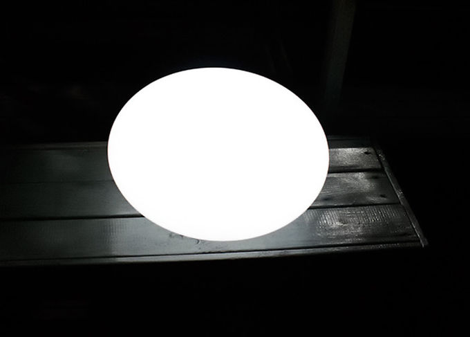Oval Shaped Solar LED Ball PE Shell And ABS Base Material Size 35*35*27cm